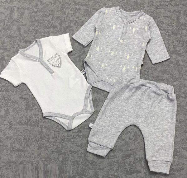 Комплект для малышей (3 предмета) (цвет серый и белый)